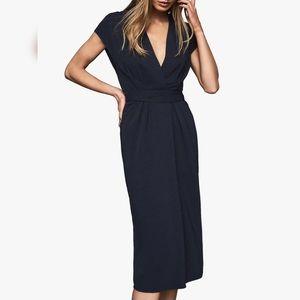NWT Reiss Maxime Navy Blue Wrap Style Dress